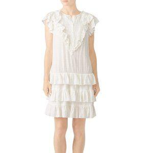 La Vie Rebecca Taylor White Drapey Check Dress - M
